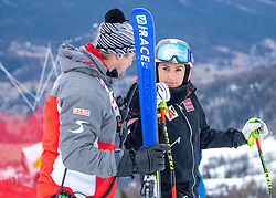 17.01.2019, Olympia delle Tofane, Cortina d Ampezzo, ITA, FIS Weltcup Ski Alpin, Abfahrt, Damen, 1. Training, Streckenbesichtigung, im Bild Mag. Jürgen Kriechbaum (Sportlicher Leiter ÖSV Ski Alpin Damen), Ramona Siebenhofer (AUT) // Juergen Kriechbaum Austrian Ski Association head Coach alpine Ladies Ramona Siebenhofer of Austria during the course inspection for the 1st training run in the ladie's Downhill of FIS ski alpine world cup at the Olympia delle Tofane in Cortina d Ampezzo, Italy on 2019/01/17. EXPA Pictures © 2019, PhotoCredit: EXPA/ Johann Groder