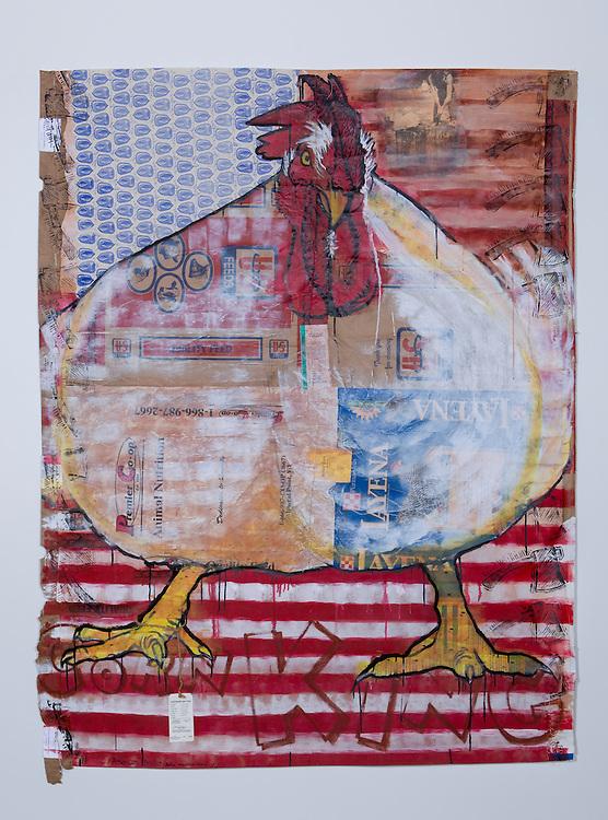 Gallus Americus Obesus, by S.V. Medaris. Mixed media.