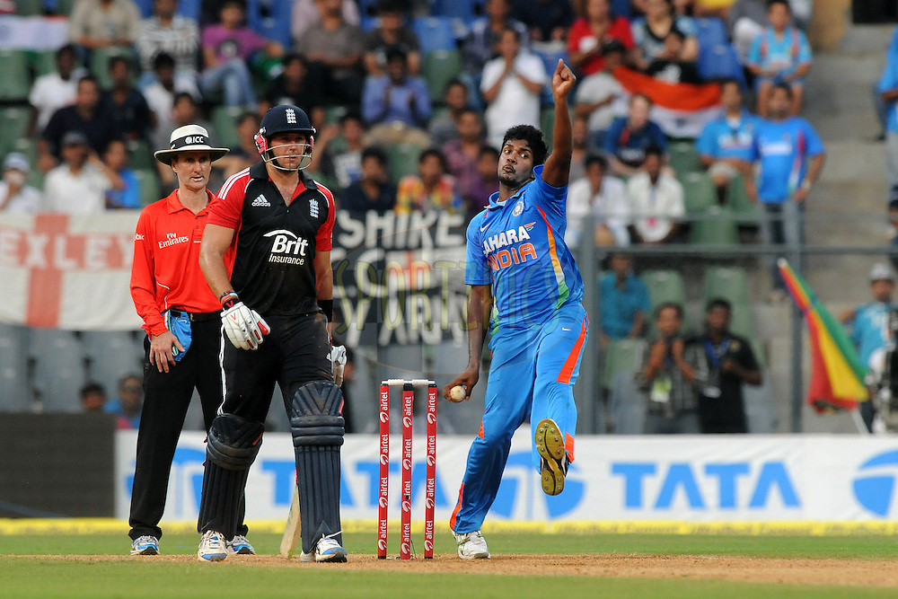 Varun Aaron of India bowls during the 4th One Day International ( ODI ) match between India and England held at the Wankhede Stadium, Mumbai on the 23rd October 2011..Photo by Pal Pillai/BCCI/SPORTZPICS