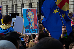 A placard delivers its opinion on ERG member Jacob Rees-Mogg as organisers claim up to a million people from across the UK march from Park Lane to Parliament demanding a People's Vote on the EU withdrawal agreement before the UK leaves the EU. London, March 23 2019