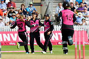 Wicket - Leigh Kasperek of New Zealand celebrates taking the wicket of Danielle Wyatt of England who was caught by Suzie Bates (c) of New Zealand during the International T20 match between England Women Cricket and New Zealand at the Cooper Associates County Ground, Taunton, United Kingdom on 23 June 2018. Picture by Graham Hunt.