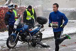 Motorcycle on fire at 17th Ljubljana Marathon 2012 on October 28, 2012 in Ljubljana, Slovenia. (Photo By Matic Klansek Velej / Sportida.com)