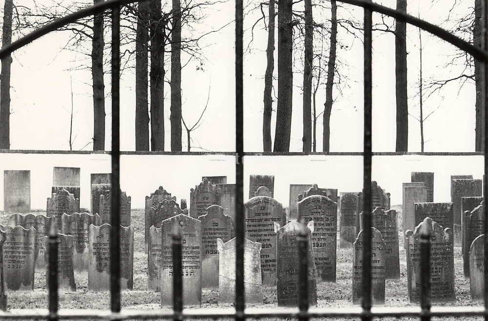 Jewish headstones in walled graveyard with trees in background Holland.