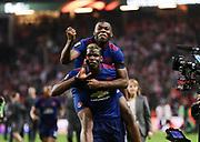 STOCKHOLM, 2017-05-24: Paul Pogba och Anthony Martial under UEFA Europa League Finalen mellan Ajax och Manchester United p&aring; Friends Arena den 24,maj 2017 i Stockholm, Sverige.  Foto: Nils Petter Nilsson/Ombrello<br /> ***BETALBILD***