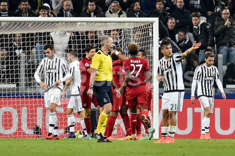 Thomas Muller of Bayern Munchen celebrates after scoring first goal for his team during the UEFA Champions League match Round of 16 between Juventus and Bayern Munich at the Juventus Stadium, Turin, Italy on 23 February 2016. Photo by Giuseppe Maffia.