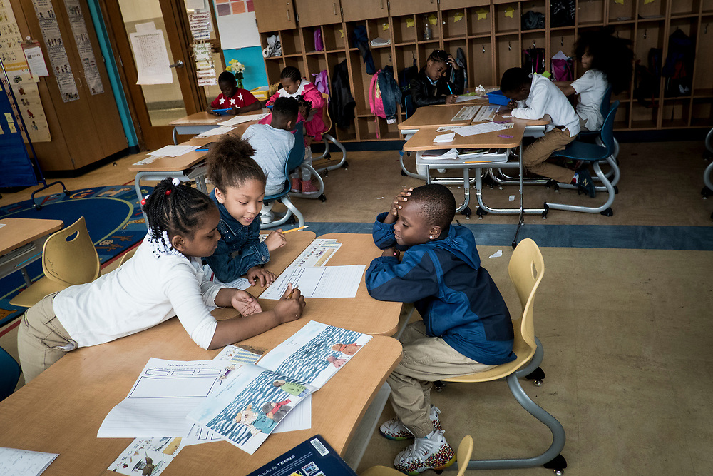 Turner Elementary School students work amongst themselves during a class on Wednesday, May 4, 2017 in Washington, D.C.