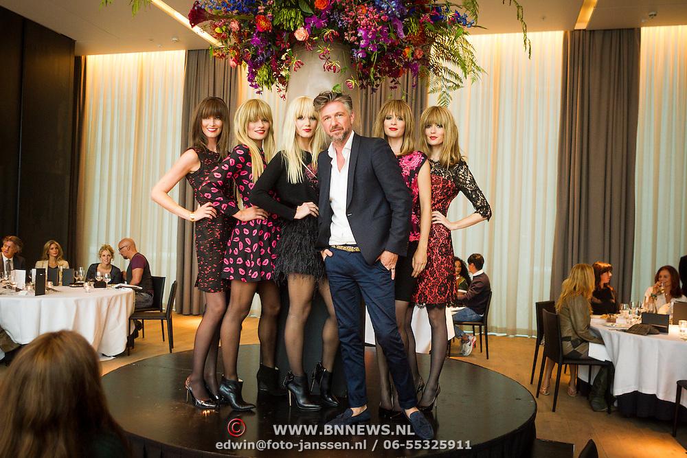 NLD/Amsterdam/20130916 -  Modeshow Jos Raak in het Conservatorium hotel, Jos Raak met zijn modellen