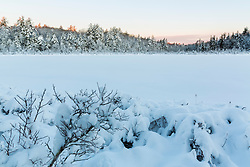 Round Pond in winter at sunrise. Barrington, New Hampshire.