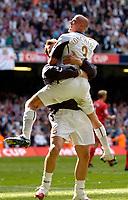 Photo: Daniel Hambury.<br />Liverpool v West Ham United. The FA Cup Final. 13/05/2006.<br />West Ham's Paul Konchesky celebrates his goal.