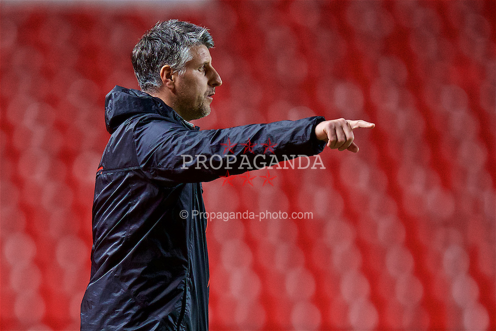 LIVERPOOL, ENGLAND - Monday, January 16, 2017: Liverpool's coach Mike Garrity  during the FA Premier League 2 Division 1 Under-23 match against Manchester United at Anfield. (Pic by David Rawcliffe/Propaganda)