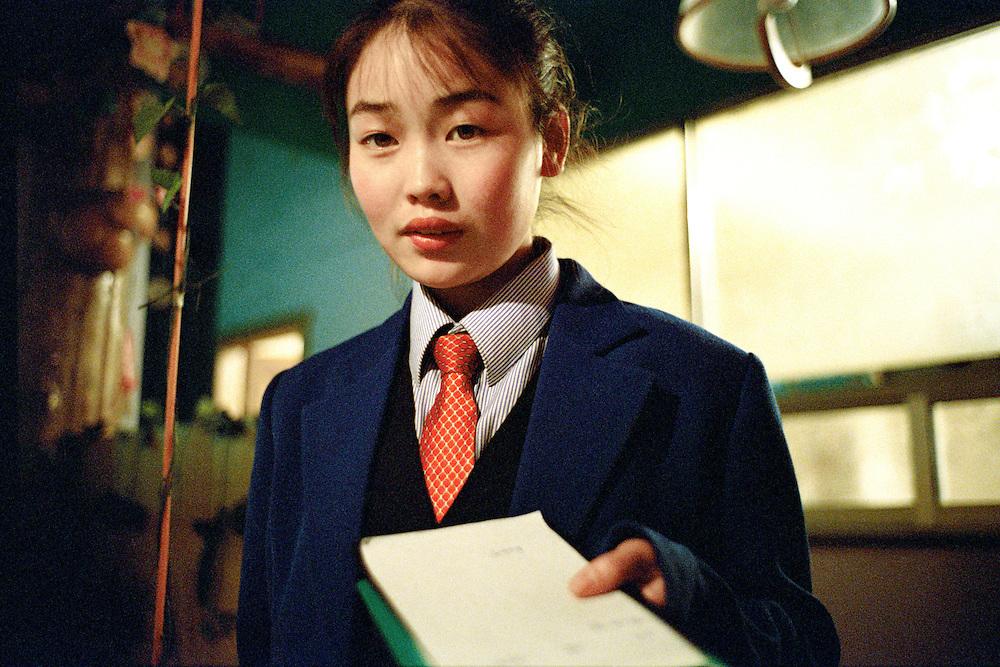Waitress. Sino Russian and North Korean Tri- Border. Hunchun, China. 2002