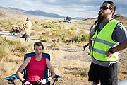 Barbara Buatois tijdens de vierde racedag. In Battle Mountain (Nevada) wordt ieder jaar de World Human Powered Speed Challenge gehouden. Tijdens deze wedstrijd wordt geprobeerd zo hard mogelijk te fietsen op pure menskracht. De deelnemers bestaan zowel uit teams van universiteiten als uit hobbyisten. Met de gestroomlijnde fietsen willen ze laten zien wat mogelijk is met menskracht.<br /> <br /> In Battle Mountain (Nevada) each year the World Human Powered Speed ??Challenge is held. During this race they try to ride on pure manpower as hard as possible.The participants consist of both teams from universities and from hobbyists. With the sleek bikes they want to show what is possible with human power.