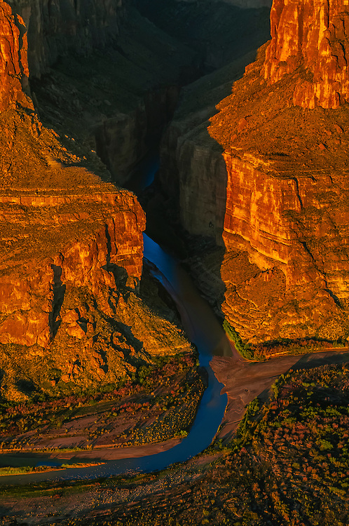 Aerial view of Santa Elena Canyon in Big Bend National Park, Texas USA (Mexico is on the left side of the canyon, US on right and mountains in background are Mexico).