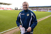 Newport County manager Warren Feeney during the Sky Bet League 2 match between Northampton Town and Newport County at Sixfields Stadium, Northampton, England on 25 March 2016. Photo by Dennis Goodwin.