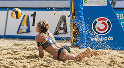 01.08.2015, Strandbad, Klagenfurt, AUT, A1 Beachvolleyball EM 2015, Semifinale Damen, im Bild Laura Ludwig 1 GER // during Semifinal Woman of the A1 Beachvolleyball European Championship at the Strandbad Klagenfurt, Austria on 2015/87/01. EXPA Pictures © 2015, EXPA Pictures © 2015, PhotoCredit: EXPA/ Mag. Gert Steinthaler