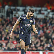 Dinamo Zagreb's El Arabi Hilal Soudani after missing a chance during the Champions League match between Arsenal and Dinamo Zagreb at the Emirates Stadium, London, England on 24 November 2015. Photo by Matthew Redman.