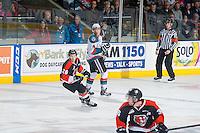 KELOWNA, CANADA - JANUARY 10: Cole Sanford #26 of Medicine Hat Tigers skates against the Kelowna Rockets on January 10, 2015 at Prospera Place in Kelowna, British Columbia, Canada.  (Photo by Marissa Baecker/Shoot the Breeze)  *** Local Caption *** Cole Sanford;