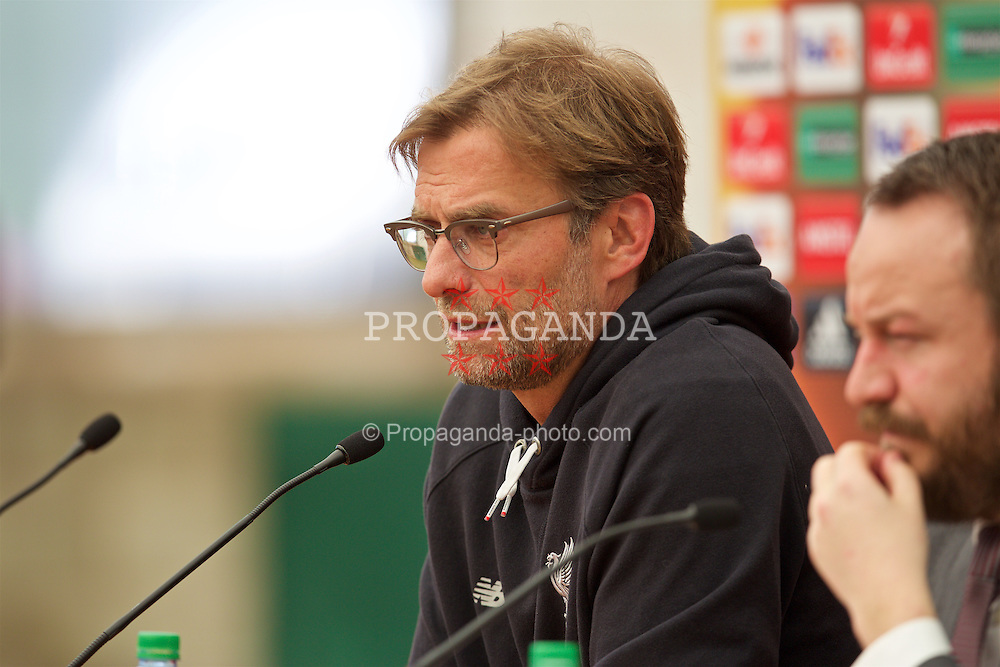 LIVERPOOL, ENGLAND - Wednesday, May 4, 2016: Liverpool's manager Jürgen Klopp during a press conference at Melwood Training Ground ahead of the UEFA Europa League Semi-Final 2nd Leg match against Villarreal CF. (Pic by David Rawcliffe/Propaganda)