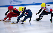 (L) Han Yutong of China and (C) Kim Alang of South Korea and (R) Natalia Maliszewska of Poland compete in the Women's 1000 Meters on day three of the 2013 ISU Short Track Speed Skating Junior World Championships at Torwar Ice Hall on February 24, 2013 in Warsaw, Poland...Poland, Warsaw, February 24, 2013...Picture also available in RAW (NEF) or TIFF format on special request...For editorial use only. Any commercial or promotional use requires permission...Photo by © Adam Nurkiewicz / Mediasport