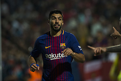September 23, 2017 - Girona, Spain - Luis Suarez from Uruguay of FC Barcelona celebrating with Aleix Vidal  from Spain of FC Barcelona their goal during the La Liga match between Girona FC v FC Barcelona  at Montilivi Stadium on September 23, 2017 in Girona, Spain. (Credit Image: © Xavier Bonilla/NurPhoto via ZUMA Press)