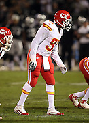 Kansas City Chiefs outside linebacker Tamba Hali (91) gets set during the NFL week 12 regular season football game against the Oakland Raiders on Thursday, Nov. 20, 2014 in Oakland, Calif. The Raiders won their first game of the season 24-20. ©Paul Anthony Spinelli