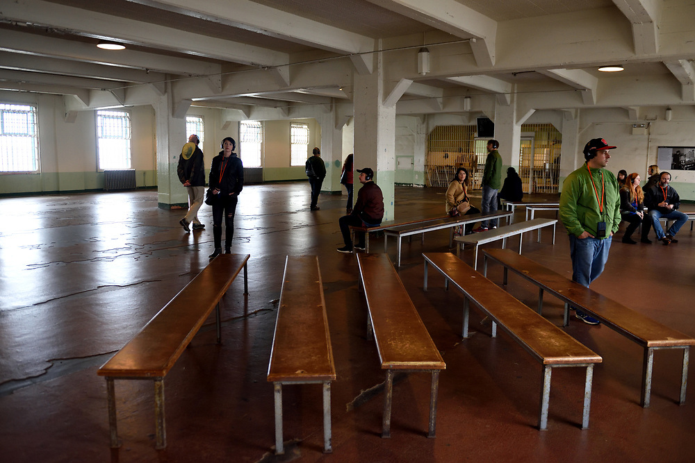 Tourists walk through the dining hall at Alcatraz Federal Penitentiary located in Alcatraz Island at San Francisco Bay, California on November 16'th, 2017. Photo by Gili Yaari