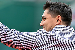 May 6, 2018 - Washington, DC, U.S. - WASHINGTON, DC - MAY 06:  Former D.C. United star, Jaime Moreno is inducted into the Washington Sports Hall of Fame prior to the game between the Philadelphia Phillies and the Washington Nationals on May 6, 2018, at Nationals Park, in Washington D.C.  The Washington Nationals defeated the Philadelphia Phillies, 5-4.  (Photo by Mark Goldman/Icon Sportswire) (Credit Image: © Mark Goldman/Icon SMI via ZUMA Press)
