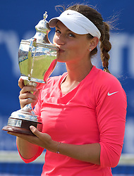 LIVERPOOL, ENGLAND - Sunday, June 21, 2015: Women's 2015 Champion Ana Bodgan (ROM) kisses the Boodles Trophy during Day 4 of the Liverpool Hope University International Tennis Tournament at Liverpool Cricket Club. (Pic by David Rawcliffe/Propaganda)