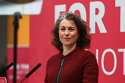 © Licensed to London News Pictures. 16/05/2017. Bradford, UK. Sarah Champion introduces Labour leader Jeremy Corbyn as he launches the Labour Party's 2017 general election manifesto at an event at Bradford University in West Yorkshire. Photo credit : Ian Hinchliffe/LNP