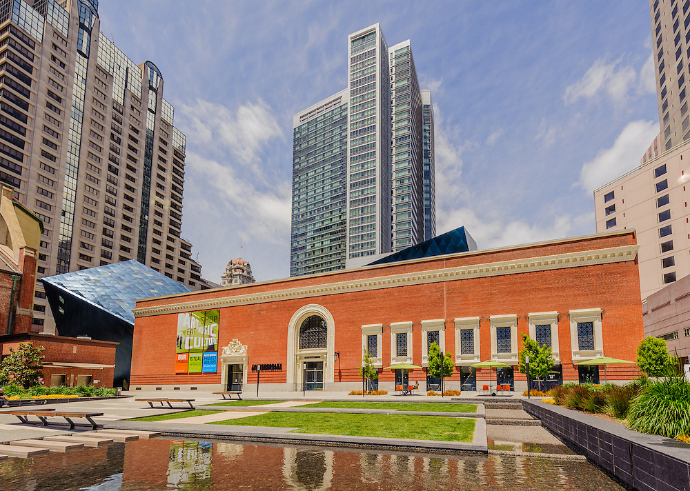 Contemporary Jewish Museum,  Daniel Libeskind designed square foot museum, extends the 1907 Jesse Street Power Substation, originally designed by Willis Polk,  San Francisco, California