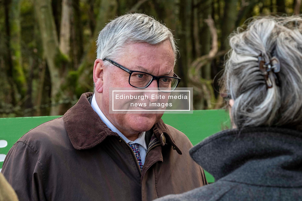 Pictured: Fergus Ewing<br /> Fergus Ewing visited Eshiels Woodland, which was recently acquired by Peebles Community Trust through Forestry and Land Scotland's community asset transfer scheme. He was shown around by Lawrie Hayworth, Chair of Peebles Community Trust