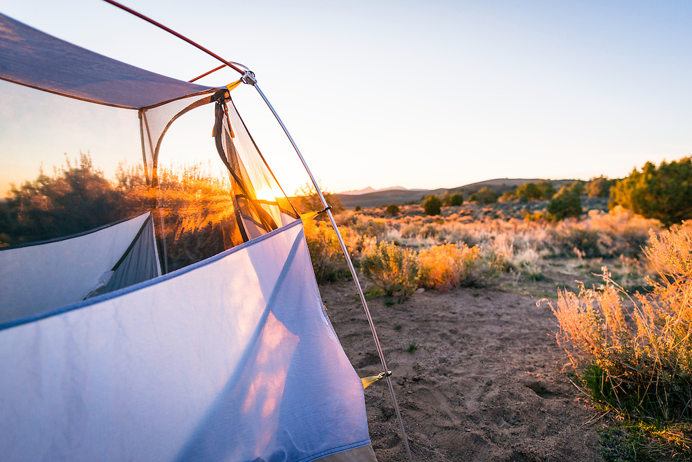 Sunrise in my tent at Hickison Petroglyph Recreation Area