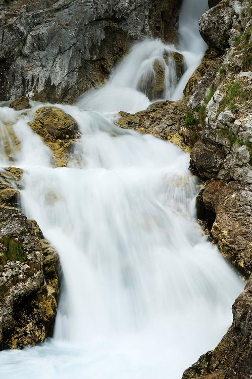 source of River Soca, water cascades<br /> Triglav National Park, Slovenia<br /> June 2009