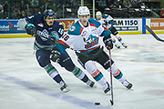 KELOWNA, CANADA - APRIL 25:  Kole Lind #16 of the Kelowna Rockets, Alexander True #16 of the Seattle Thunderbirds at the Kelowna Rockets game on April 25, 2017 at Prospera Place in Kelowna, British Columbia, Canada.  (Photo By Cindy Rogers/Nyasa Photography,  *** Local Caption ***