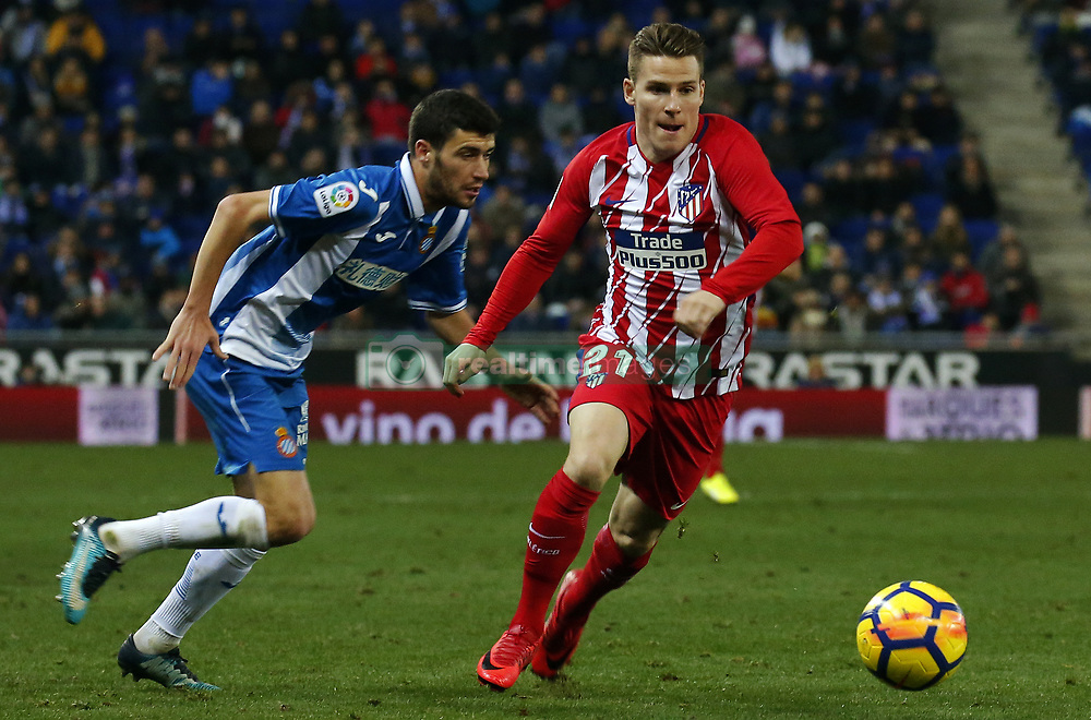 December 22, 2017 - Barcelona, Spain - Kevin Gameiro and Aaronduring the La Liga match between RCD Espanyol and Atletico de Madrid, in Barcelona, on December 22, 2017. Photo: Joan Valls/Urbanandsport/Nurphoto  (Credit Image: © Joan Valls/NurPhoto via ZUMA Press)