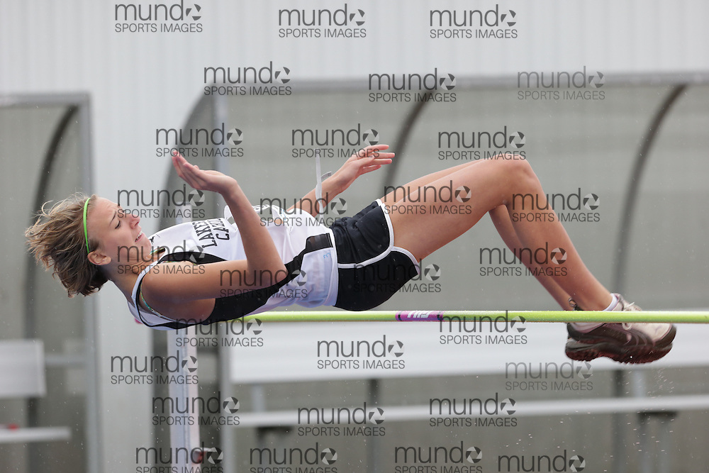 of  competes in the midget girls high jump at the 2013 OFSAA Track and Field Championship in Oshawa Ontario, Thursday,  June 6, 2013.<br /> Mundo Sport Images / Sean Burges