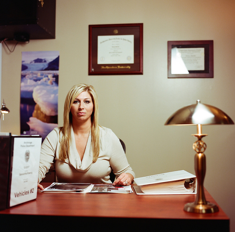 ANCHORAGE, ALASKA - MAY 2013: Detective Monique Doll who worked the Samantha Koenig case in her office in the Anchorage Police Department.