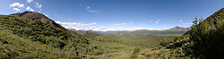 MULTIPLE IMAGE COMPOSITED PANORAMA - View from the slope of Igloo Mountain near the Igloo Creek campground looks out upon the Teklanika River valley and Double Mountain.