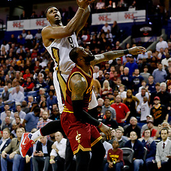 Jan 23, 2017; New Orleans, LA, USA; New Orleans Pelicans forward Terrence Jones (9) shoots over Cleveland Cavaliers forward LeBron James (23) during the fourth quarter of a game at the Smoothie King Center. The Pelicans defeated the Cavaliers 124-122. Mandatory Credit: Derick E. Hingle-USA TODAY Sports