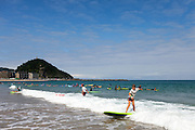 Zurriola beach in Gros district is a popular spot for surf learners.