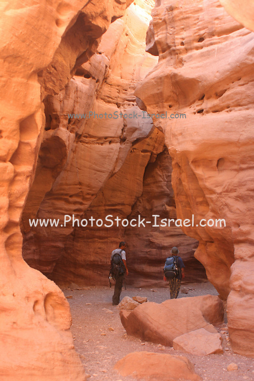 Israel, Travellers at the Red Canyon near Eilat