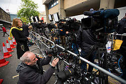 © London News Pictures. 02/05/2015. Media prepare cameras before Catherine Duchess of Cambridge and Prince William leave the Lindo Wing of St Mary's hospital in London holding their new born baby daughter, Princess of Cambridge. Photo credit: Ben Cawthra /LNP