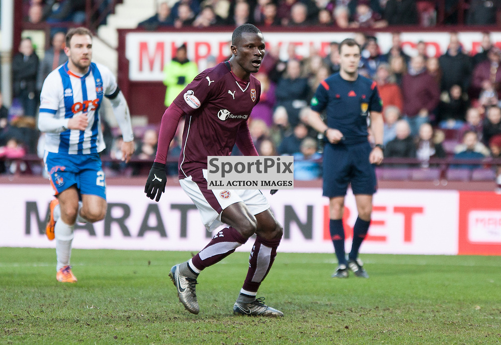 Hearts v Kilmarnock, Scottish Premiership, 27 February 2016, Abiola Dauda (Hearts, 25) sees his penalty saved during the Hearts v Kilmarnock Scottish Premiership match played at Tynecastle Stadium, © Chris Johnston | SportPix.org.uk