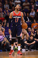 Apr 1, 2016; Phoenix, AZ, USA; Washington Wizards guard Garrett Temple (17) reacts to a call made in the first half against the Phoenix Suns at Talking Stick Resort Arena. Mandatory Credit: Jennifer Stewart-USA TODAY Sports