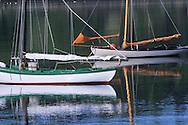 moored vintage sailboats in Lunenburg, Nova Scotia, Canada