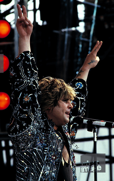 Ozzie Osbourne at the Live Aid Concert at J.F.K. Stadium in Philadelphia on 13th July 1985.