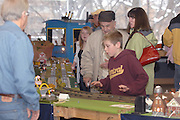 Model train enthusiasts of all ages enjoy the main display of the 2009 Festival of Trains at the Grand Traverse Heritage Center on Traverse City, Michigan.