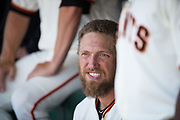 San Francisco Giants right fielder Hunter Pence (8) hangs out in the dugout during a MLB game against the Arizona Diamondbacks at AT&T Park in San Francisco, California, on August 6, 2017. (Stan Olszewski/Special to S.F. Examiner)