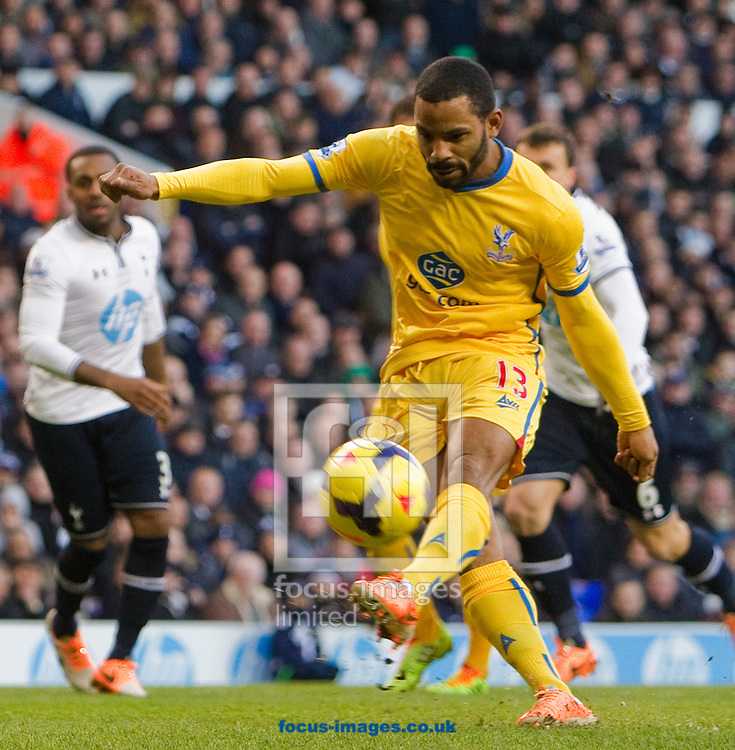 Picture by John Rainford/Focus Images Ltd +44 7506 538356<br /> 11/01/2014<br /> Jason Puncheon of Crystal Palace balloons a penalty wide of the target during the Barclays Premier League match at White Hart Lane, London.