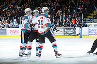 KELOWNA, CANADA - FEBRUARY 18: The Kelowna Rockets celebrate a goal against the Red Deer Rebels at the Kelowna Rockets on February 18, 2012 at Prospera Place in Kelowna, British Columbia, Canada (Photo by Marissa Baecker/Shoot the Breeze) *** Local Caption ***